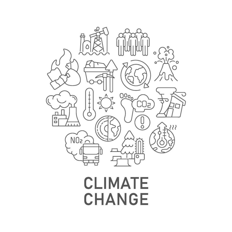klimaatverandering abstracte lineaire conceptlay-out met kop vector