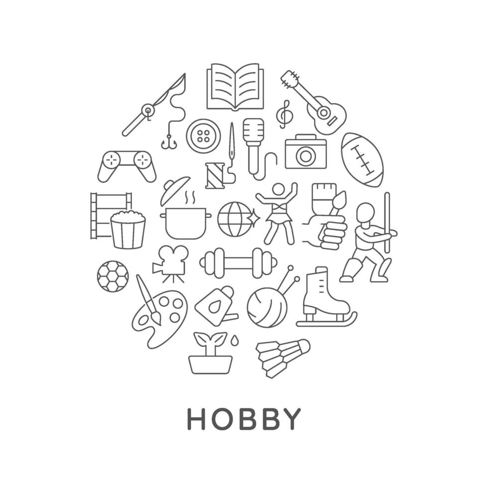 hobby abstracte lineaire conceptlay-out met kop vector