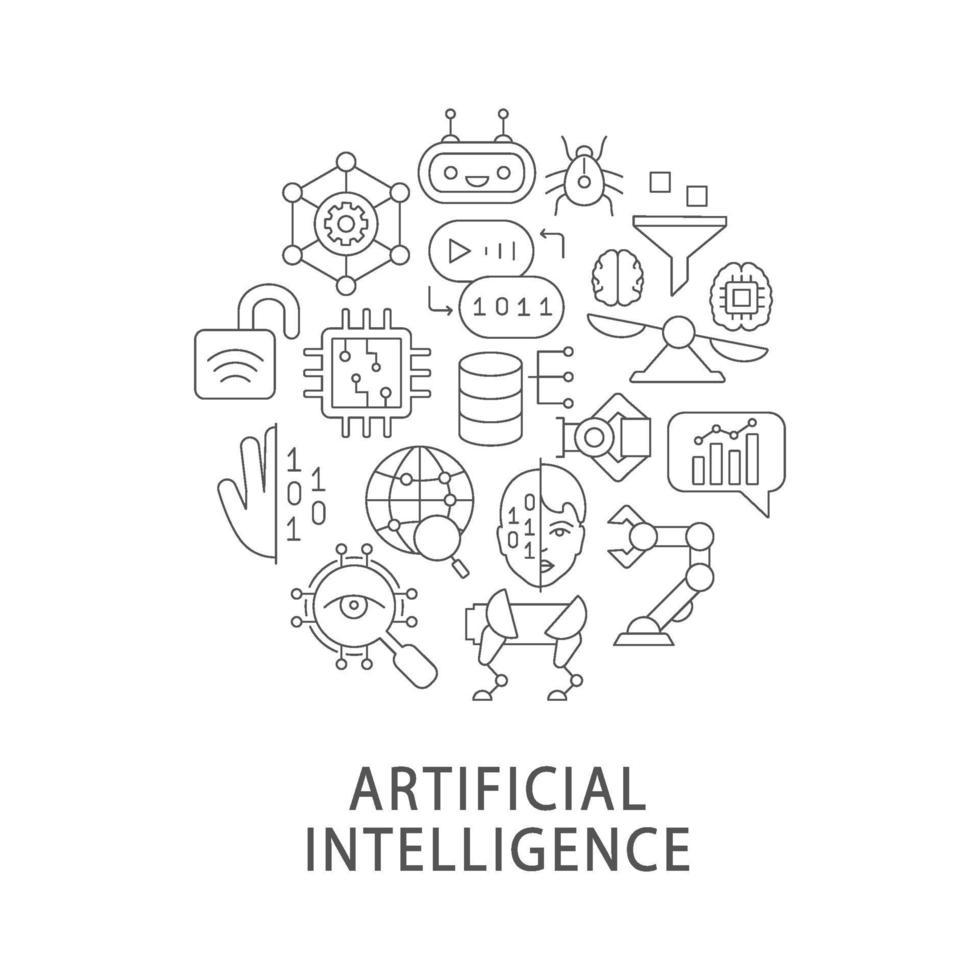kunstmatige intelligentie abstracte lineaire conceptlay-out met kop vector