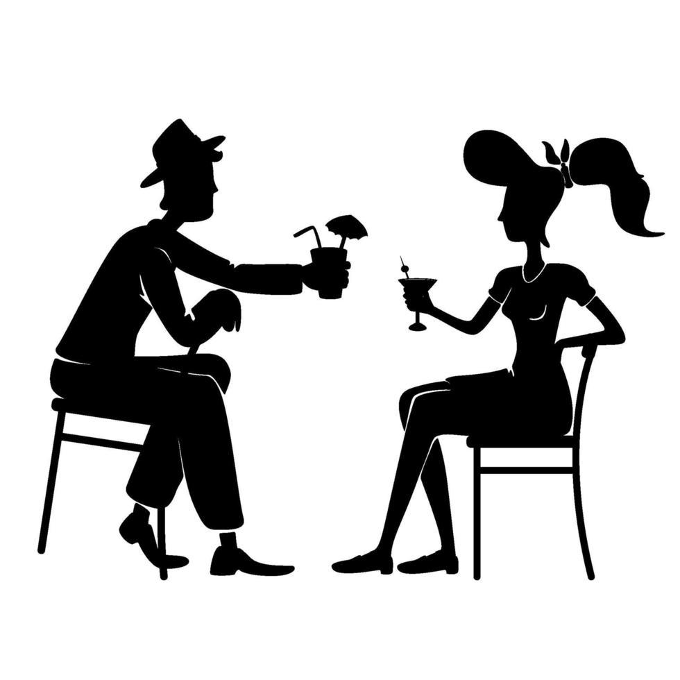 ouderwets paar drinken samen zwarte silhouet vectorillustratie vector