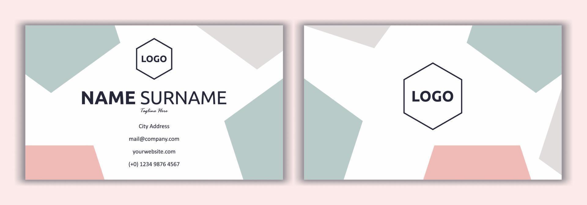 roze visitekaartje sjabloon vectorillustratie. mode en beauty achtergrond. plat eenvoudig ontwerp van visitekaartje met logo-monster, zacht en pastelkleurig. briefpapierontwerp, afdruksjabloon. vector