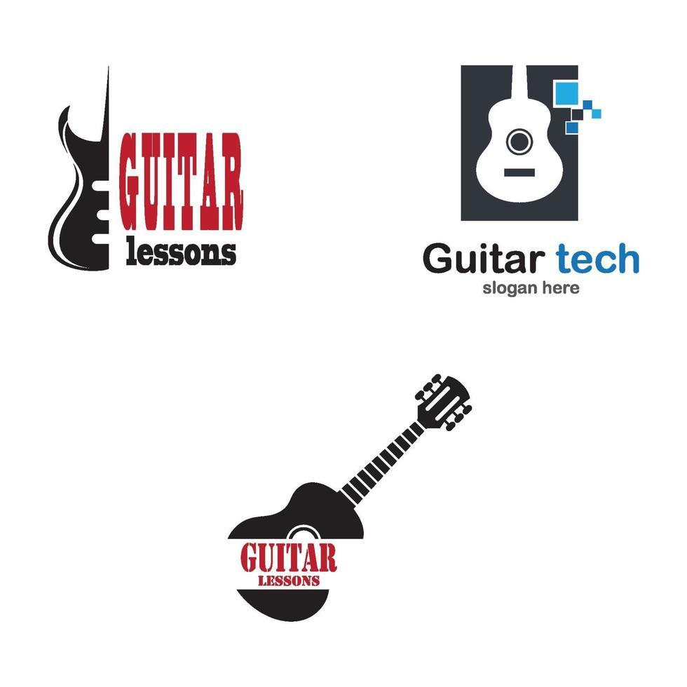 gitaarles logo afbeeldingen illustratie vector