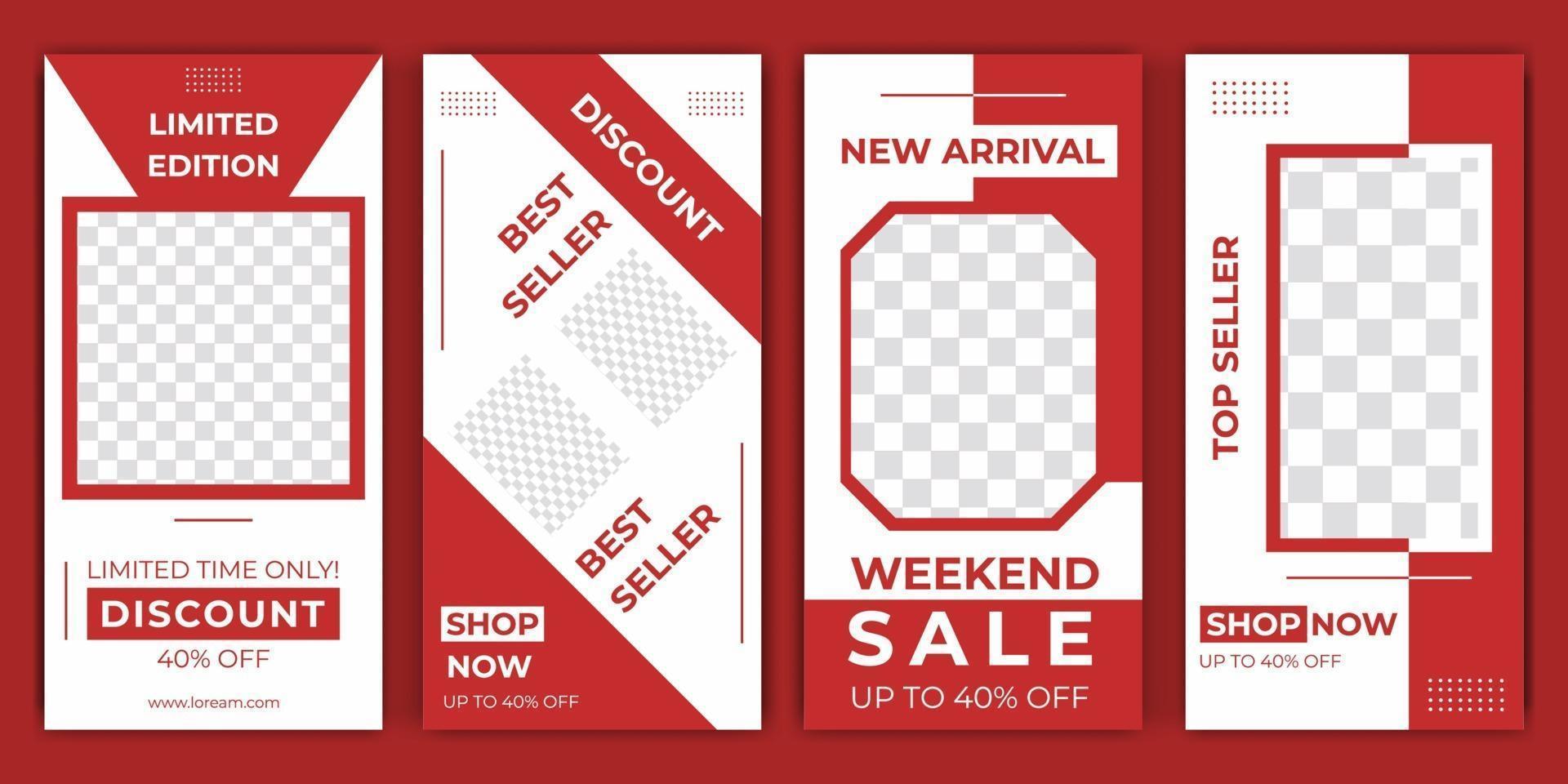sociale media verhalen bewerkbare post-ontwerp verkoop promotie set sjabloon premium vector elegante rode kleur. stijlvolle posts, verhalen en foto's op sociale media. vector illustratie