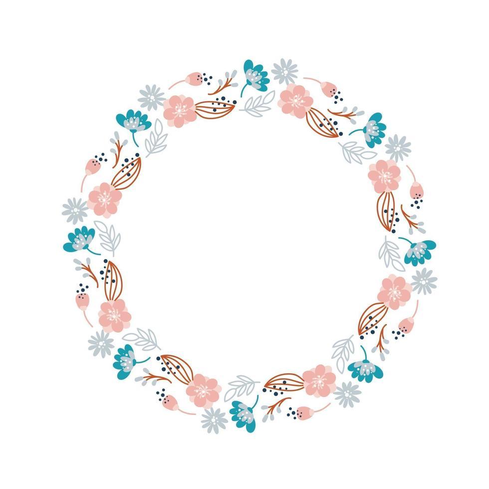 zomerkrans met bloemen in Scandinavische stijl. lente kruid plat abstract vector tuin frame voor vrouw dag romantische vakantie, trouwkaart. element bloemen geïsoleerde illustratie