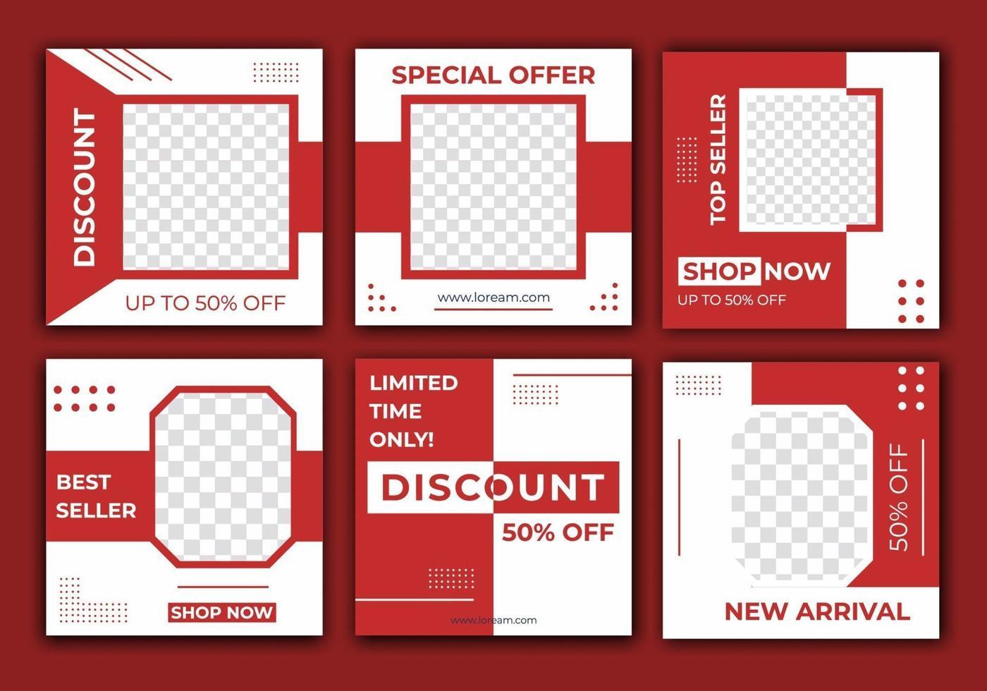 sjabloonpost voor advertenties op sociale media, verkoop van webbanners voor promotie op sociale media. bewerkbare set van social media feed frame-ontwerp met lichtrode kleur. vectorillustratie met foto college vector