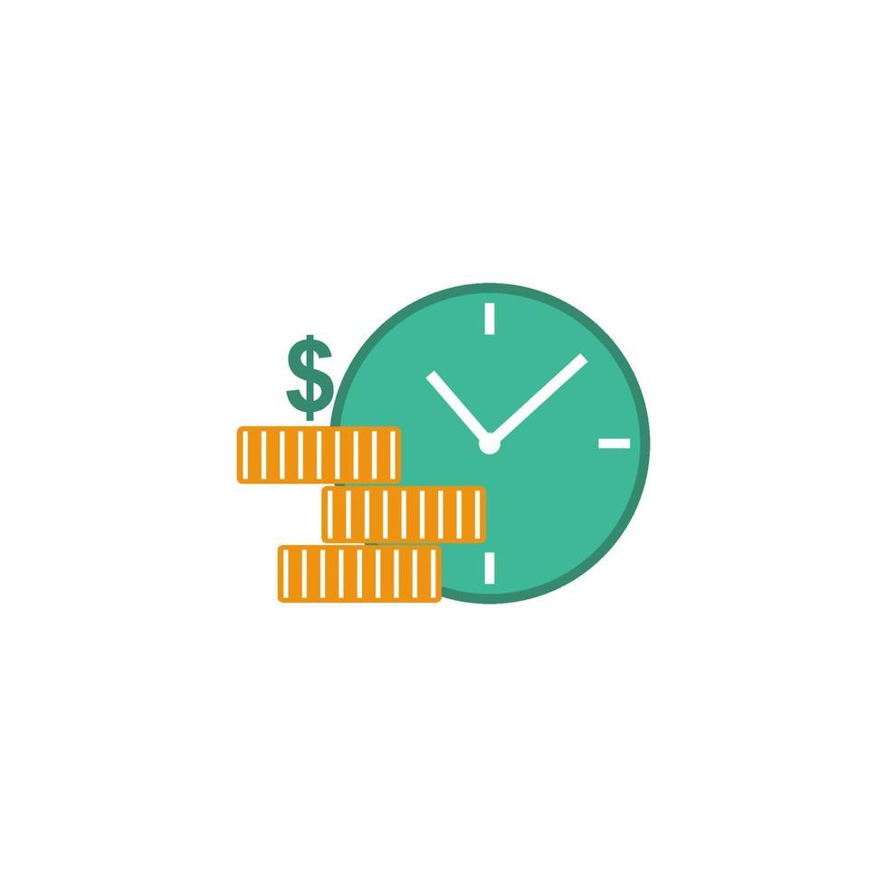 klok met gouden munten, betaaldag concept vector geïsoleerde illustratie