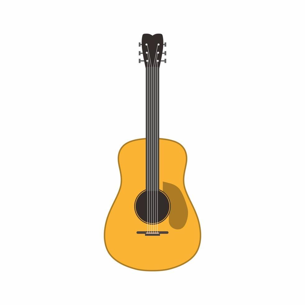 een gitaar voor vakantiegangers in zomerkamp platte vectorillustratie. houten akoestische gitaar voor recreatie camping entertainment geïsoleerd op een witte achtergrond. picknick terwijl u geniet van het natuurconcept. vector