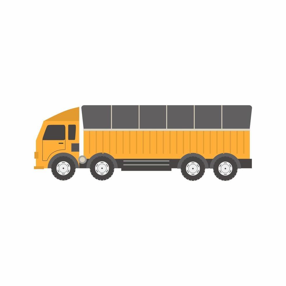 vector plat ontwerp creatief vrachtwagenvervoer. levering logistiek wagenpark met vrachtwagens en containers. zware kipper in stripfiguur geïsoleerd op een witte achtergrond