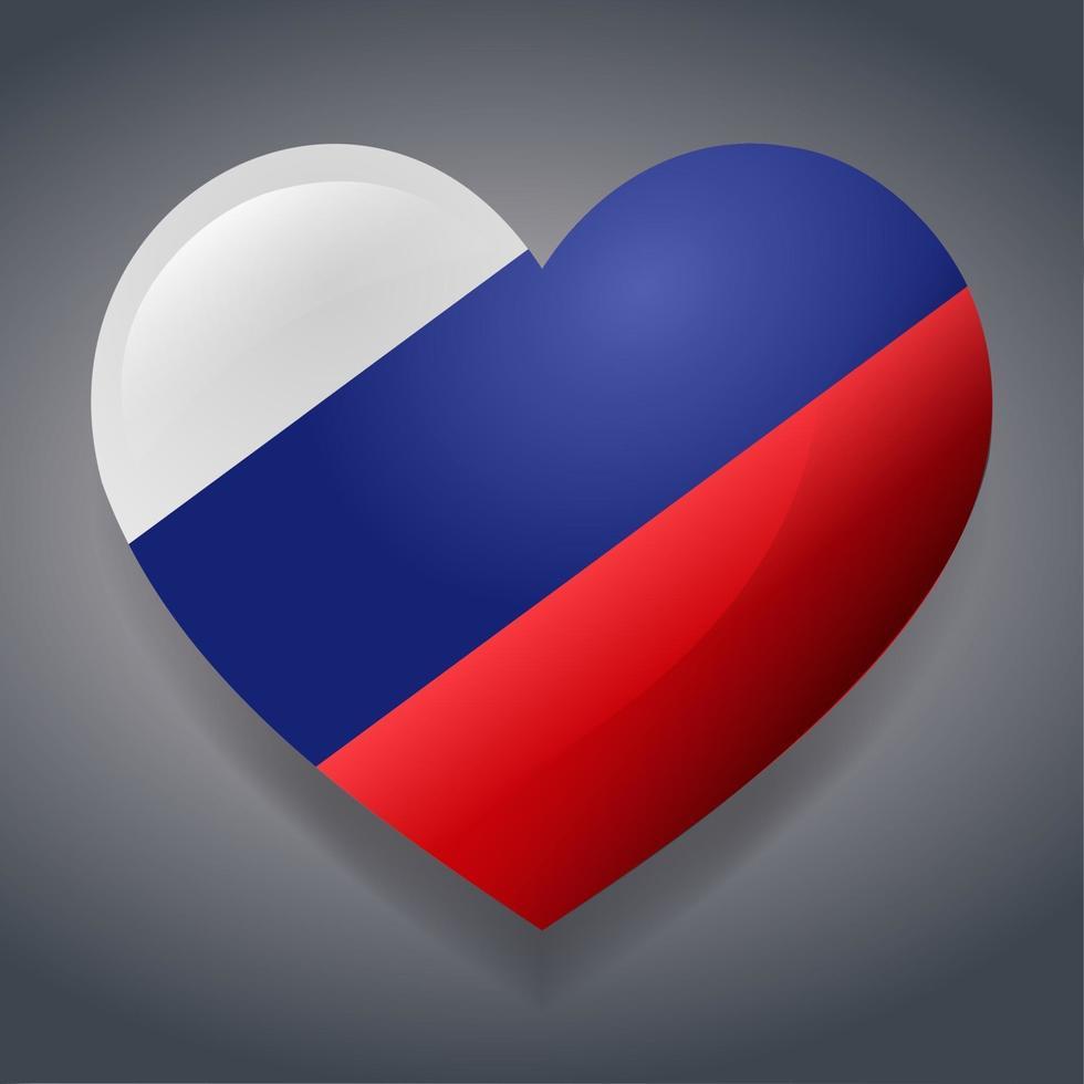 hart met Rusland vlag symbool illustratie vector
