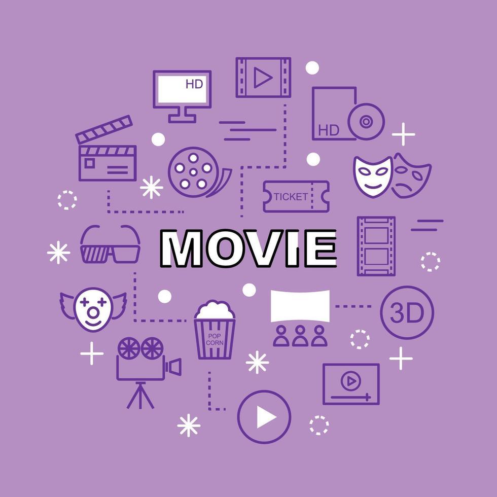 film minimale overzichtspictogrammen vector