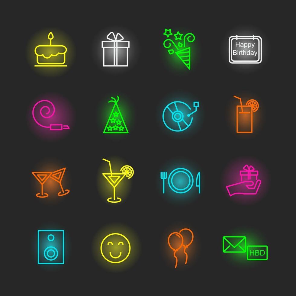 verjaardag neon pictogramserie vector