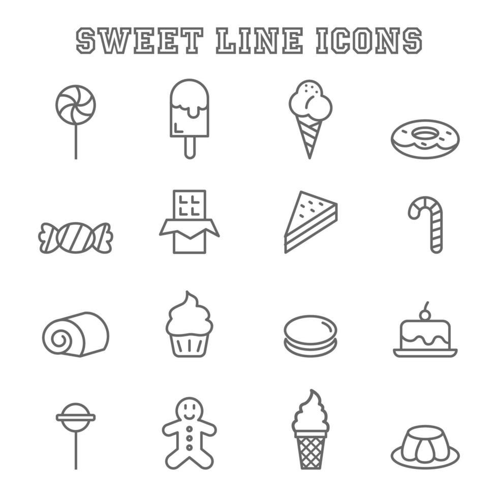 zoete lijn pictogrammen vector