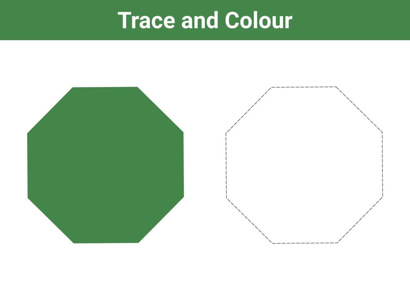 trace en kleur achthoek vrije vector
