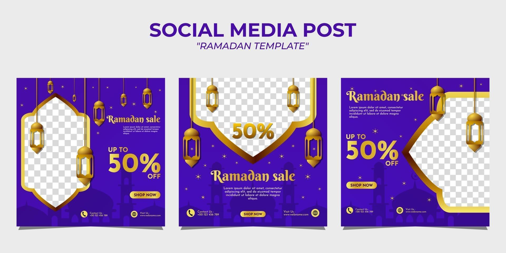 ramadan verkoop sociale media postsjabloon vector