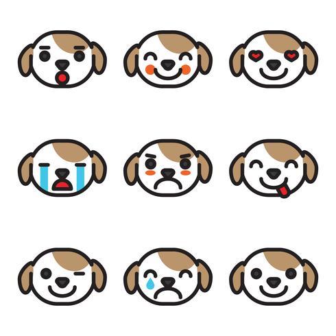 Geschetste Emoji-hondengezichten vector