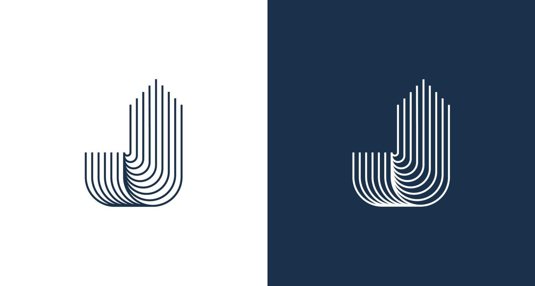 abstracte letter j met het bouwen van torenvorm set vector