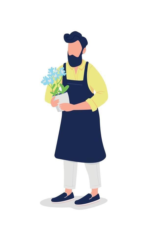 mannelijke bloemist in schort met bloem egale kleur vector gezichtsloos karakter