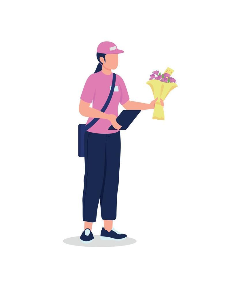 vrouwelijke koerier in uniform met boeket egale kleur vector gedetailleerd karakter