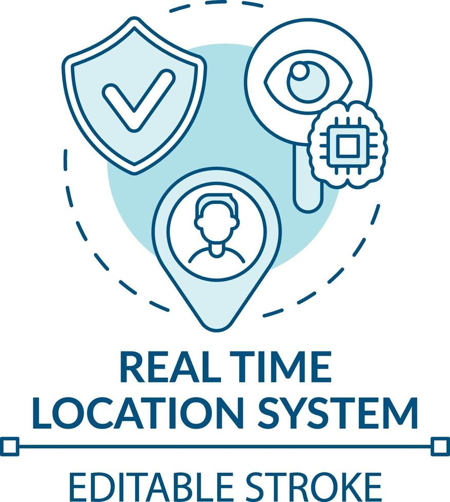 real-time locatiesysteem concept pictogram vector