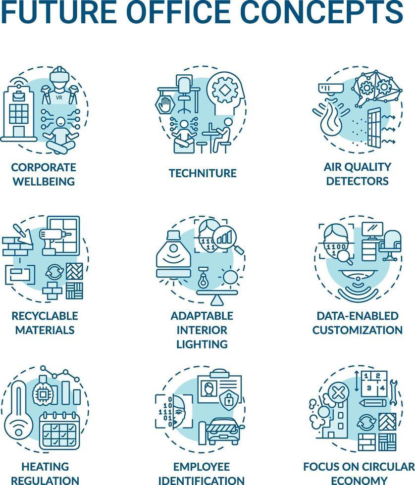 toekomstige office concept pictogrammen instellen vector
