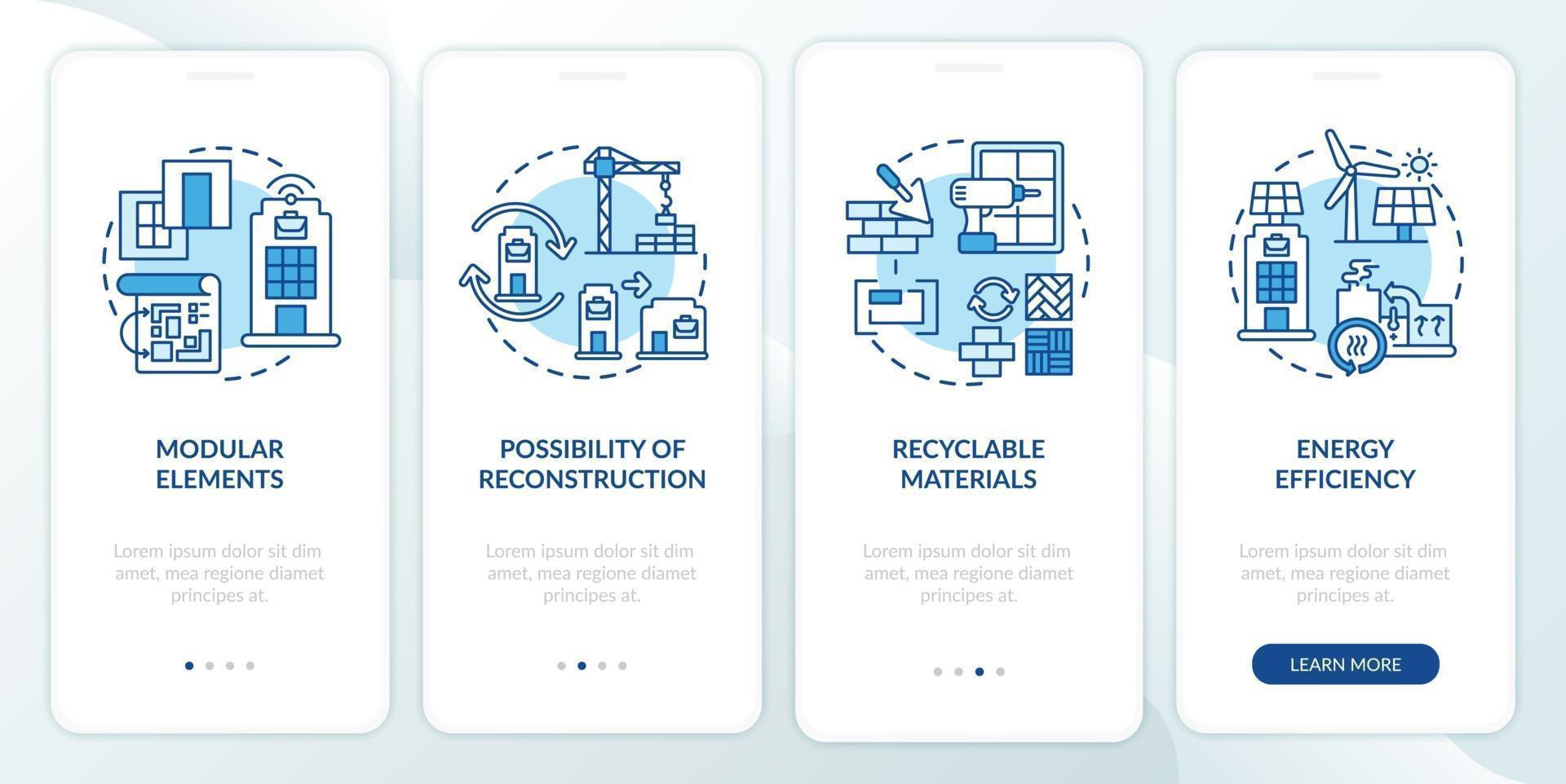 futuristische kantoorgebouw vereiste onboarding mobiele app-paginascherm met concepten vector