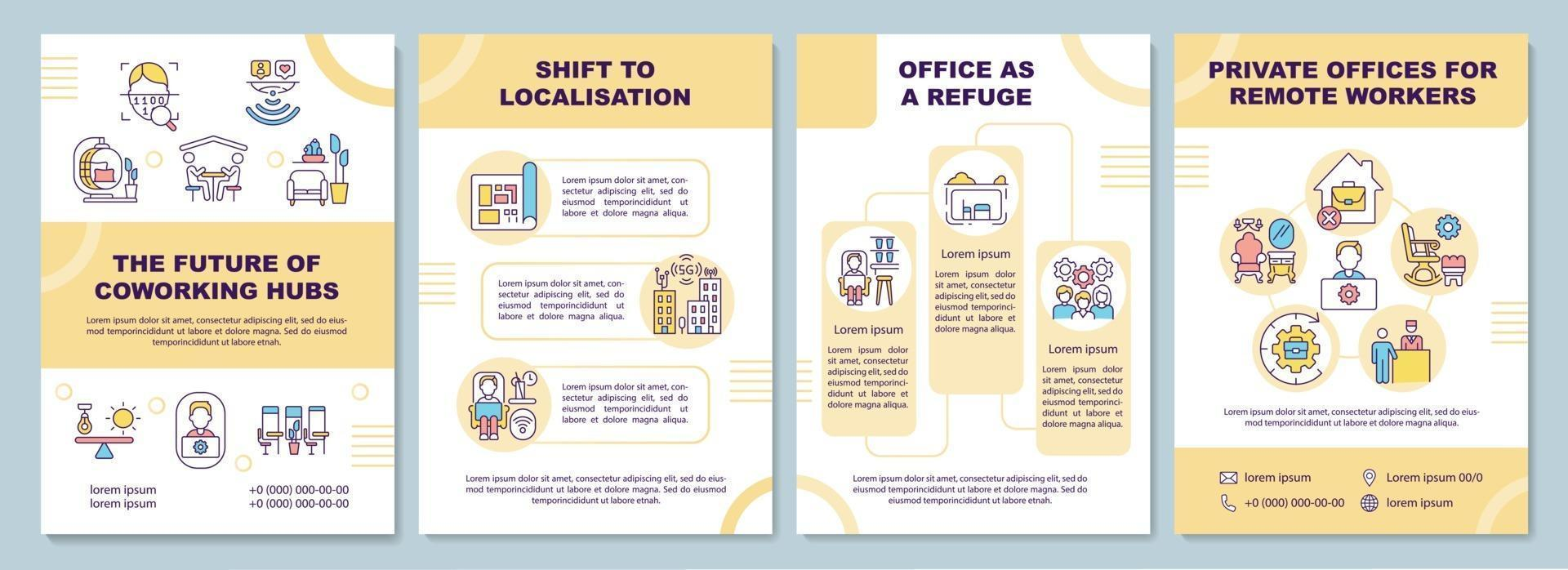 coworking hubs toekomstige brochure sjabloon vector