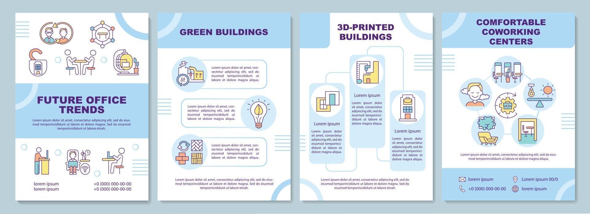 toekomstige kantoor trends brochure sjabloon vector