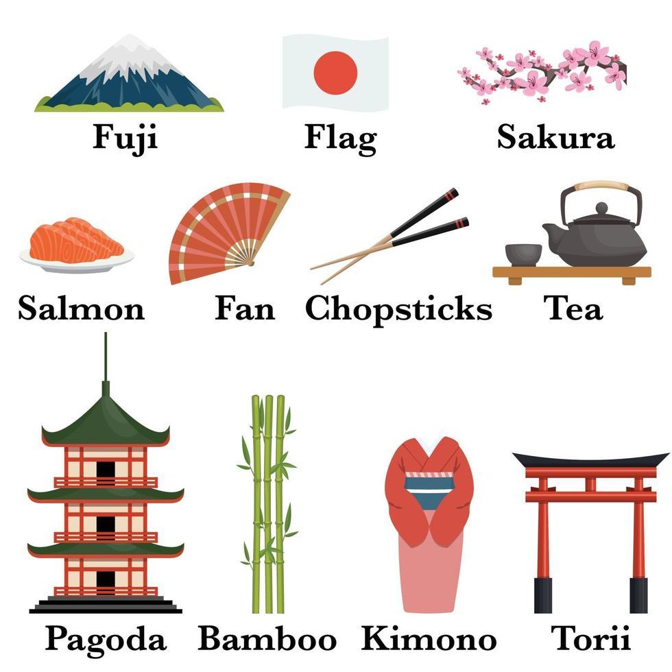 japan pictogrammen instellen vector