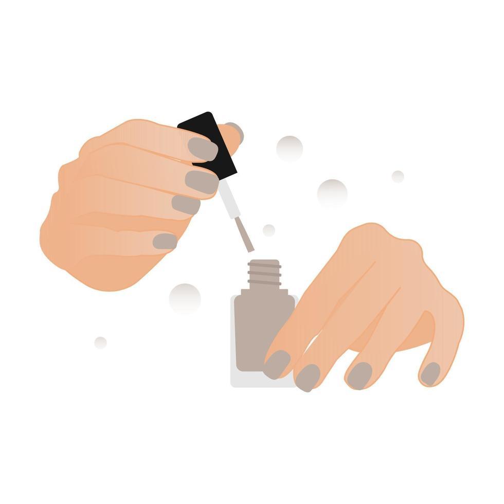 vrouw handen polijsten nagels met de nagellak. nagellak trendy kleur vectorillustratie. vector