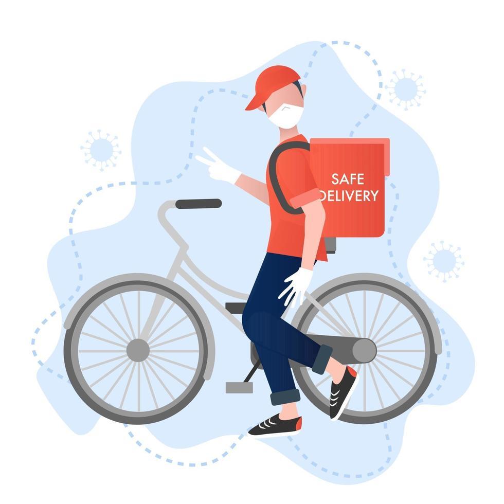 veilige levering vector concept. lachende bezorgman met fiets zorgt voor veilige en virusbeschermde bezorging. veilige voedsellevering. viruspreventie concept. cartoon vectorillustratie. coronavirus preventie.