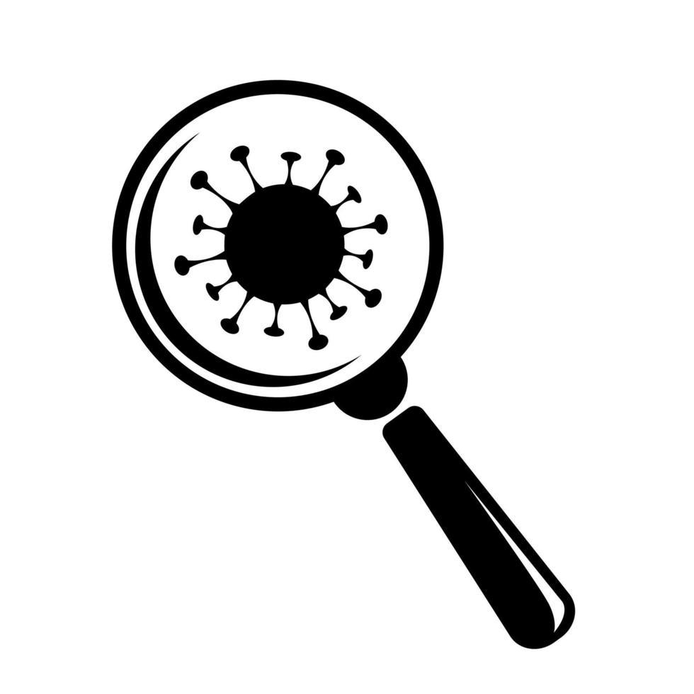 platte vector vergrootglas viruscel voor medisch ontwerp. vergrootglas pictogram vector. Corona-epidemie. zoek teken. pandemie van ziekte. coronavirus bacteriën celpictogram.