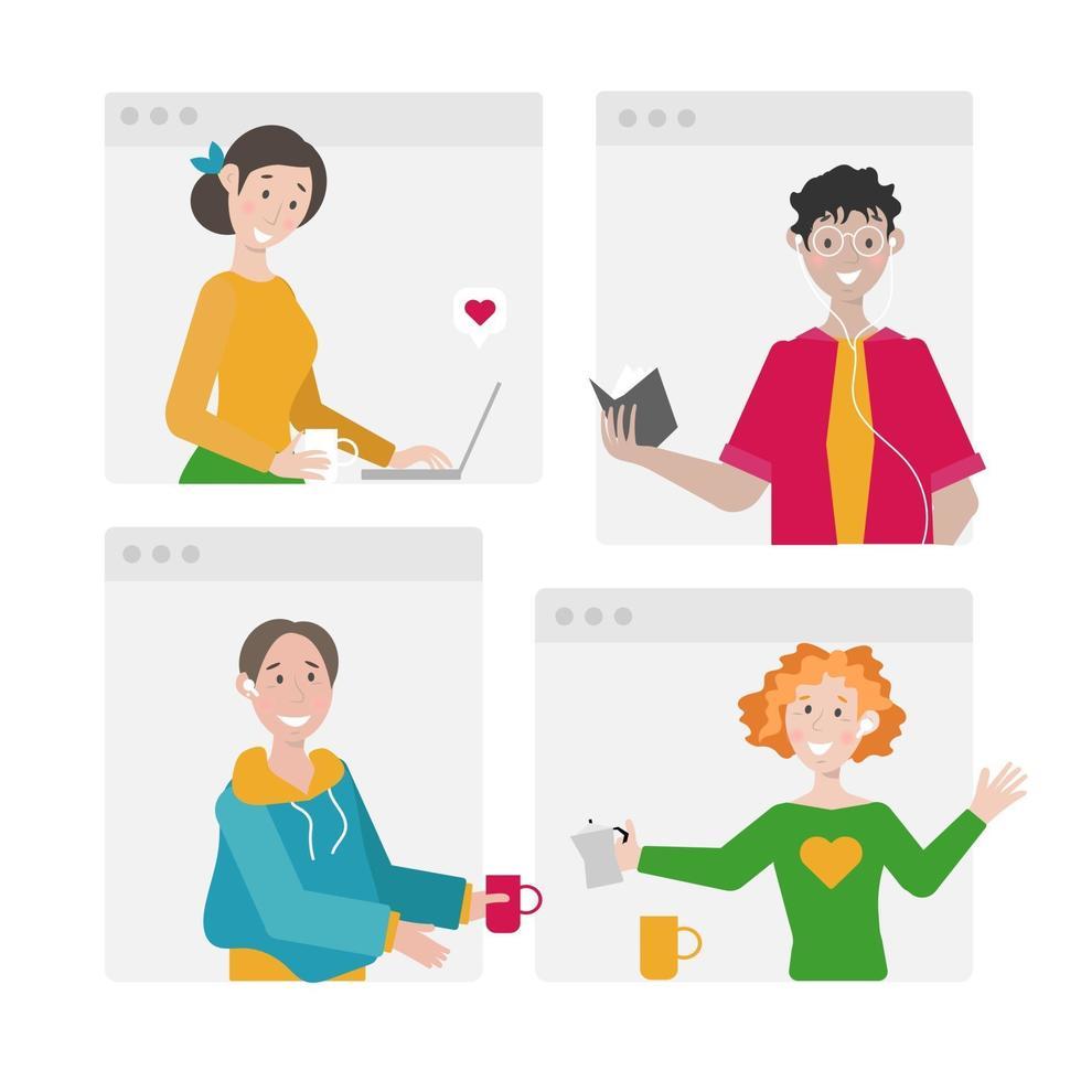 online vergadering vectorillustratie. groepsgesprek. vrienden in videoconferentie. alfakanaal toegevoegd. vector