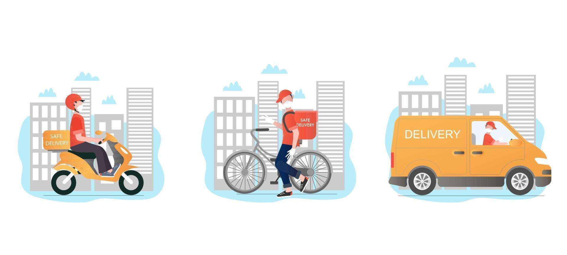 veilige levering vector set. veilige levering met verschillende soorten transport. bezorgers met maskers en handschoenen. Veilige, contactloze bezorging van eten aan huis en op kantoor.