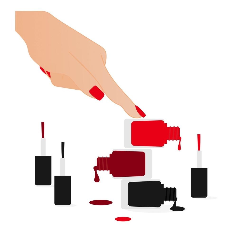 nagellak vectorillustratie geïsoleerd. nagellak vector met vrouwenhand.