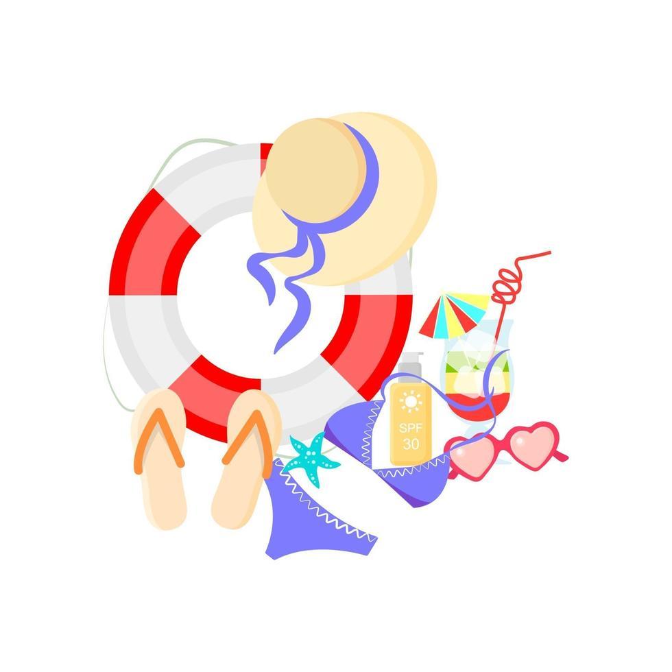 zomer items ingesteld op een witte achtergrond. vectorillustratie in platte cartoon stijl. zomerartikelen geïsoleerd op een witte achtergrond. vector