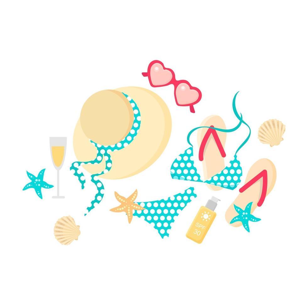 slippers, hoed, bikini met zonnebril, zonnebrandcrème, champagne, schelp en zeesterren. bovenaanzicht van zomerartikelen. platte vectorillustratie in cartoon stijl, geïsoleerd op een witte achtergrond. vector