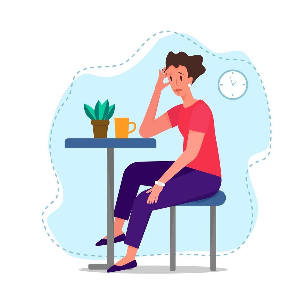 droevig vrouwenkarakter overladen met droevige gedachten. geestelijke gezondheid concept vectorillustratie. geïsoleerde vectorillustratie op witte achtergrond. vector