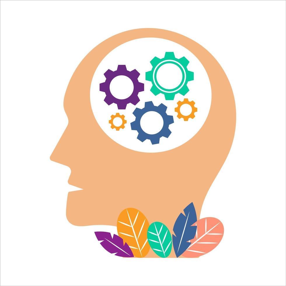geestelijke gezondheid systeem vector concept illustratie. hoofd met een mentaal systeem versnellingen. hoofd pictogram geïsoleerd op een witte achtergrond.