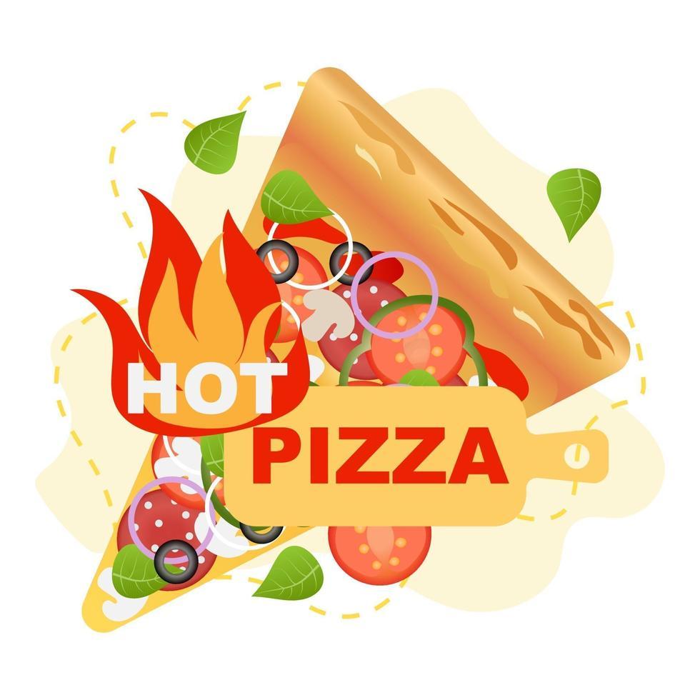 rustieke hete pizza vectorillustratie. vector, geïsoleerd. groente, junkfood. vector