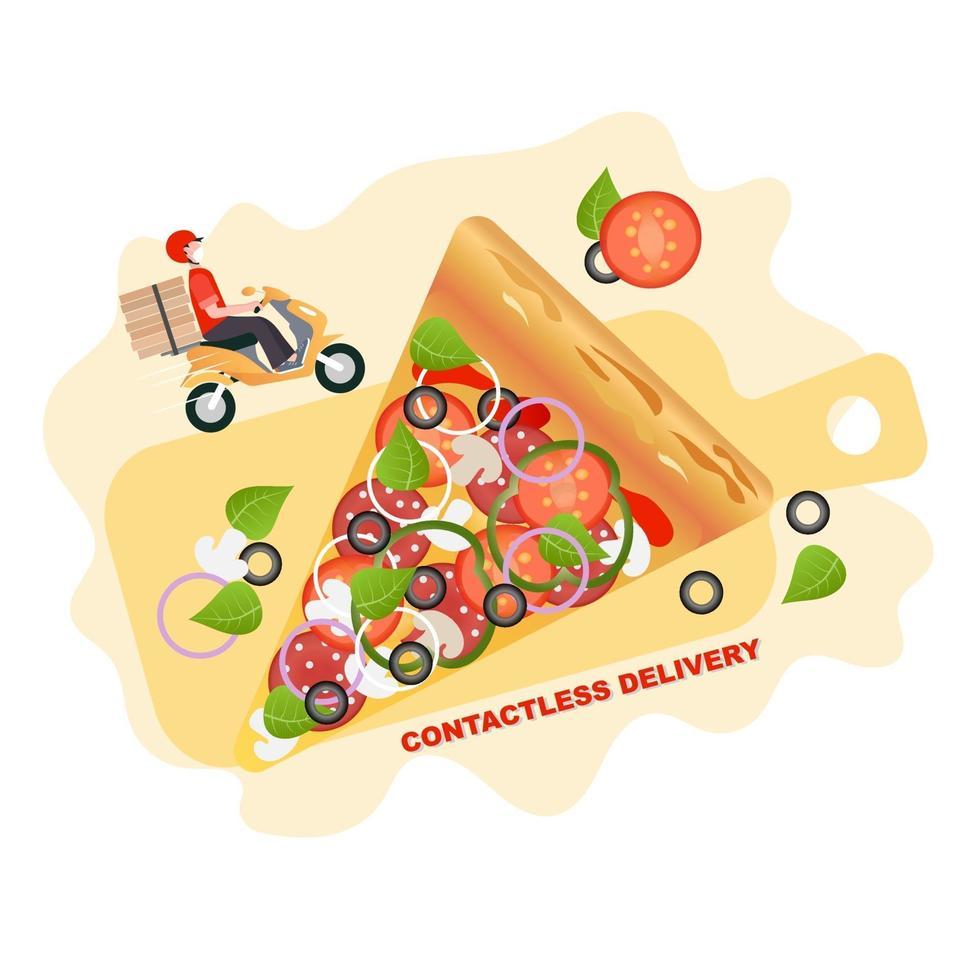pizza contactloze bezorging. quarantaine, isolatie. vector afbeelding achtergrond. bezorgservice. coronavirus quarantaine. veilige voedsellevering.
