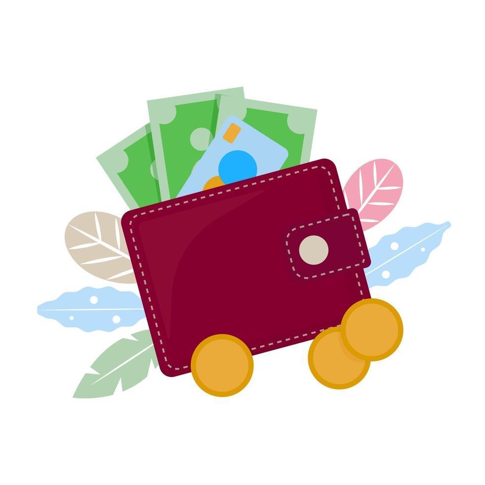 vector concept illustratie. portemonnee, portemonnee met papiergeld, creditcard en munten. platte vector cartoon illustratie. portemonnee bovenaanzicht, geïsoleerd op een witte achtergrond.