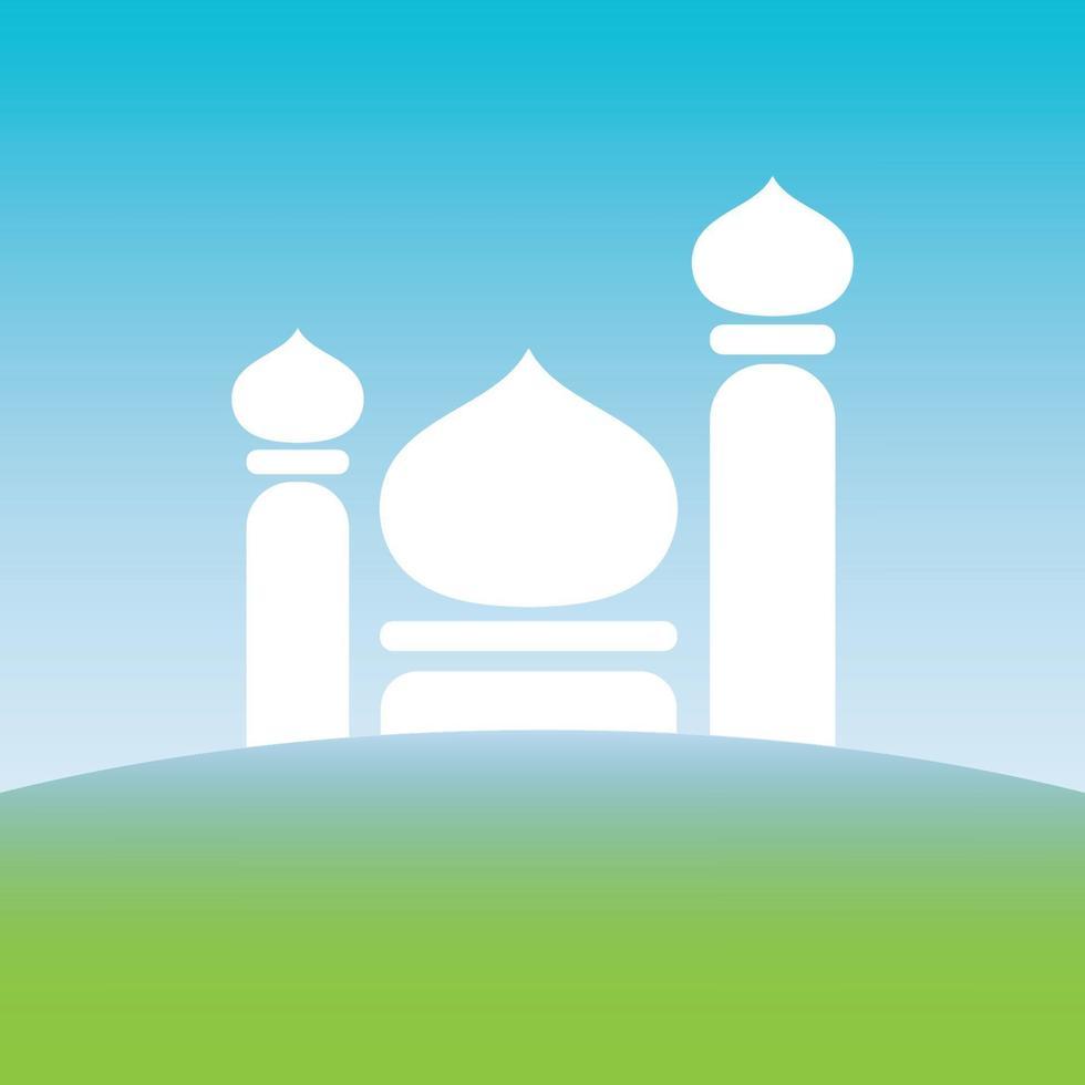 het silhouet van de moskee boven de groene aarde en onder de blauwe hemel vector afbeelding