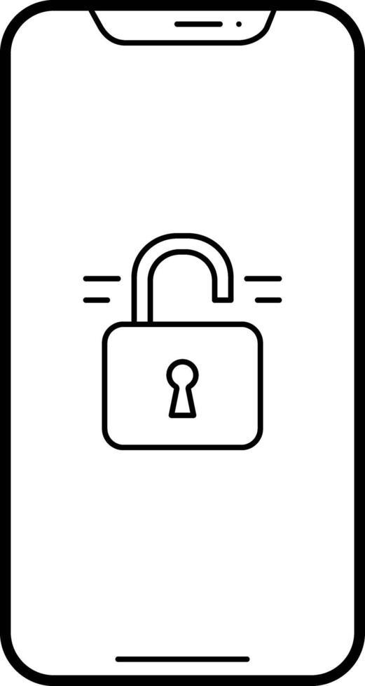 lijnpictogram voor ontgrendelde telefoon vector