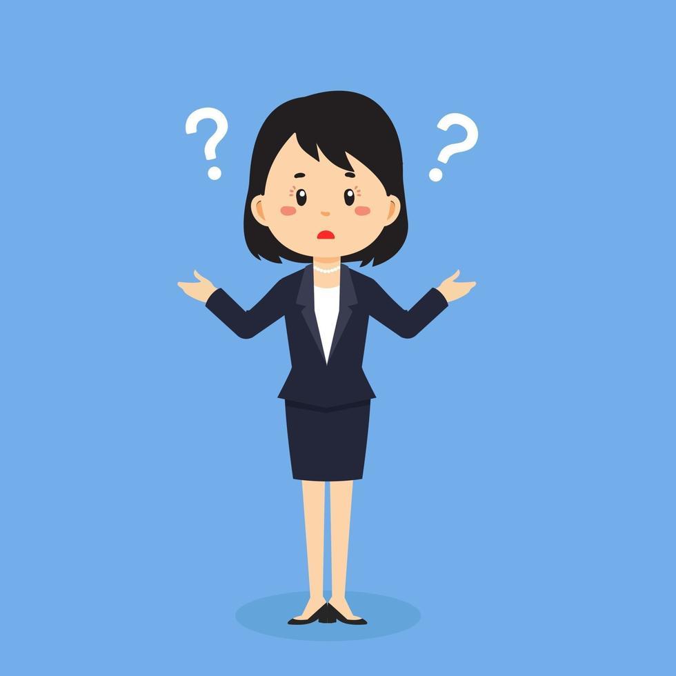 zakenvrouw verward met vraagteken vector
