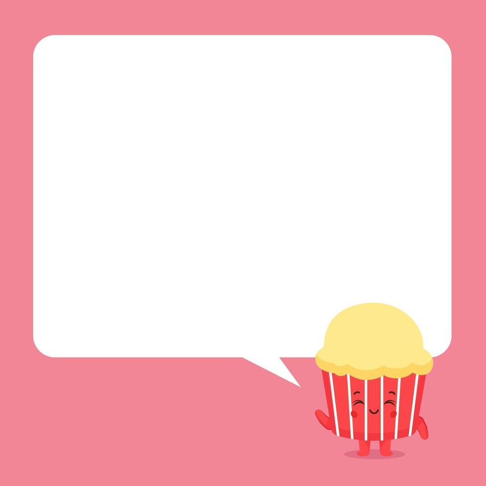schattige cake met tekstballonnen vector