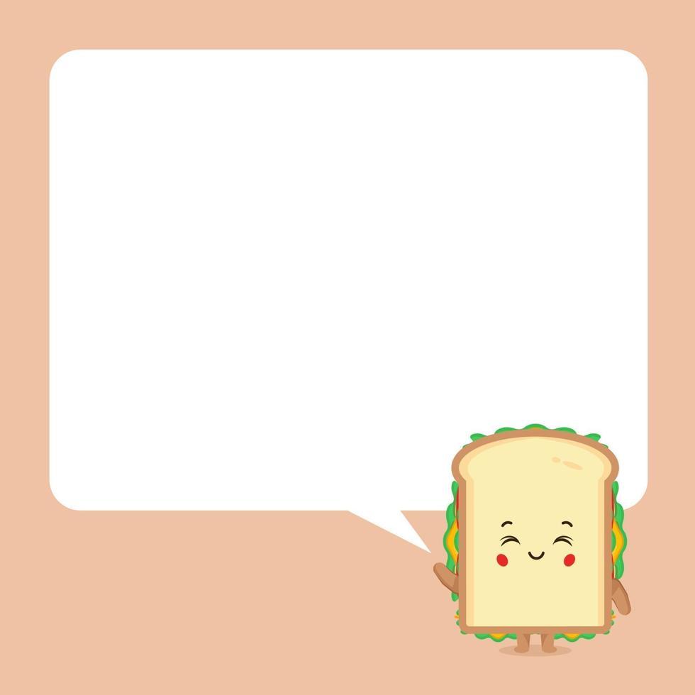 schattige sandwich met tekstballonnen vector