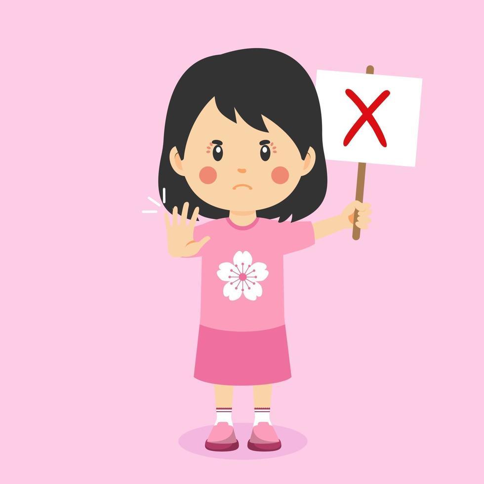 schattig meisje met verkeerd teken vector