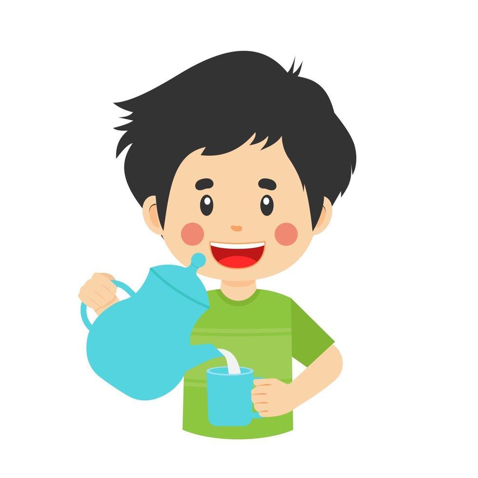 gelukkige schattige jongen giet waterglas vector