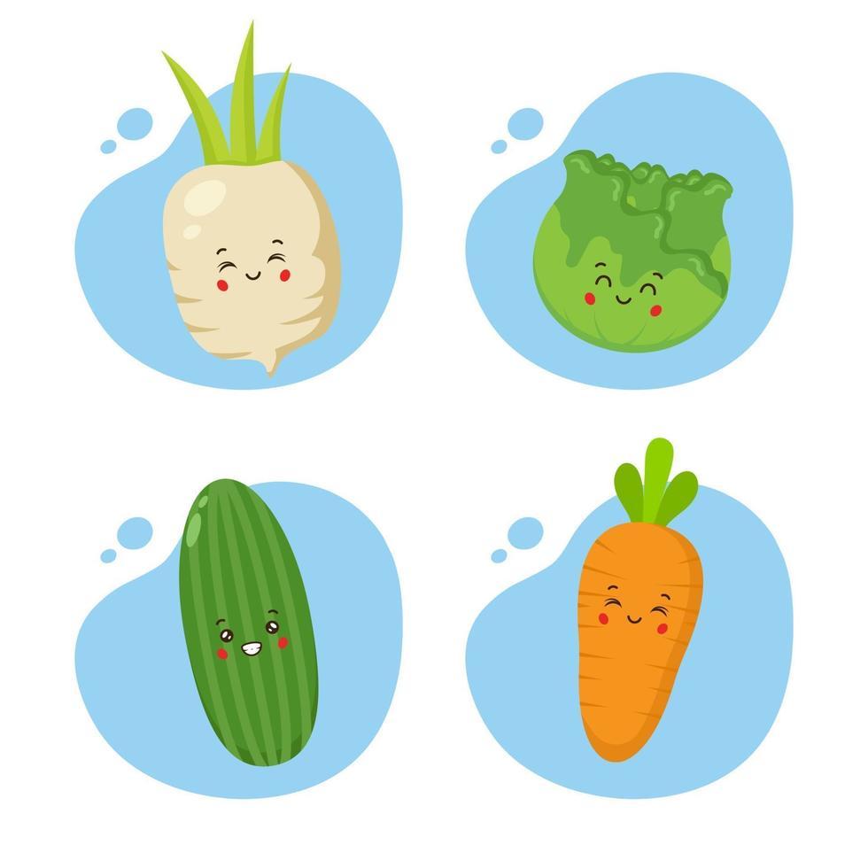 set van 4 kawaii groenten vector