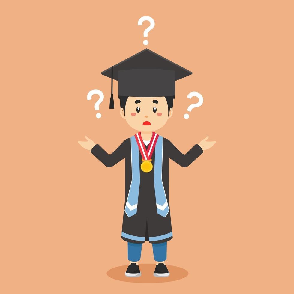 afstuderen verward met vraagteken vector